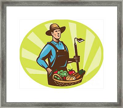 Farmer With Garden Hoe And Basket Crop Harvest Framed Print by Aloysius Patrimonio