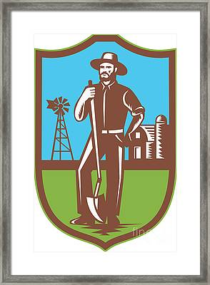 Farmer With Spade Windmill Farm Barn Retro Framed Print by Aloysius Patrimonio