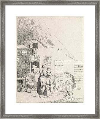 Farmers And Children At Ranch Framed Print by Johannes Christiaan Janson