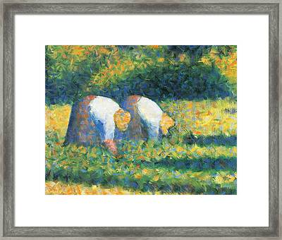 Farmers At Work Framed Print by Georges Seurat