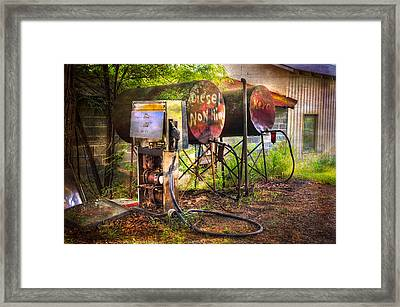Farmer's Fuel Framed Print by Debra and Dave Vanderlaan