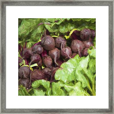 Farmers Market Beets And Greens Square Framed Print by Carol Leigh