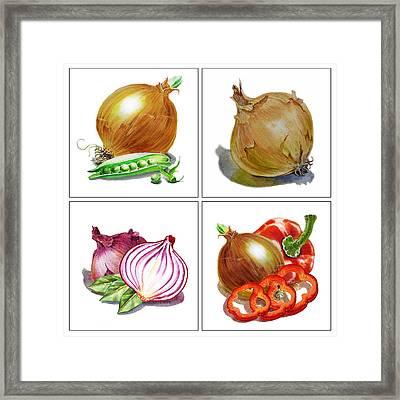 Farmers Market Onion Collection Framed Print by Irina Sztukowski