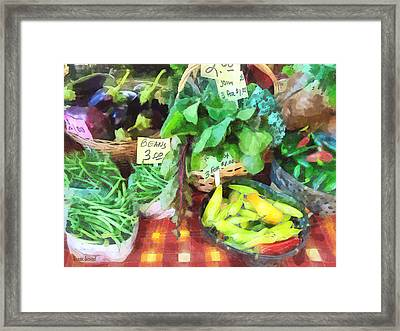 Farmer's Market - Peppers And String Beans Framed Print by Susan Savad