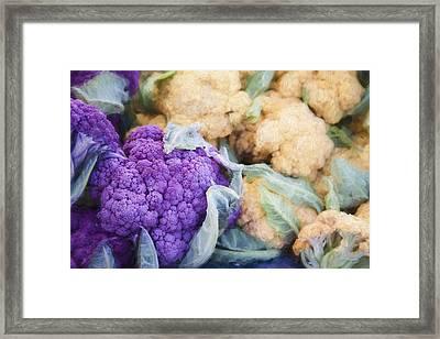 Farmers Market Purple Cauliflower Framed Print by Carol Leigh