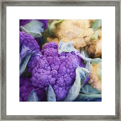 Farmers Market Purple Cauliflower Square Framed Print