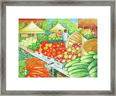 Framed Print featuring the painting Farmers Market View by Inese Poga