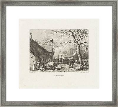 Farmers Negotiate Near Oxen In A Village Framed Print by Izaak Jansz. De Wit And Jacob Cats