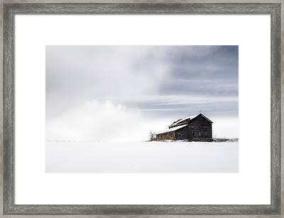 Farmhouse - A Snowy Winter Landscape Framed Print by Gary Heller