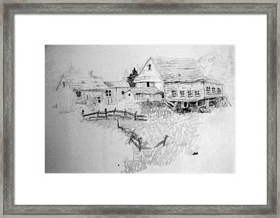 Farmhouse And Barn Framed Print