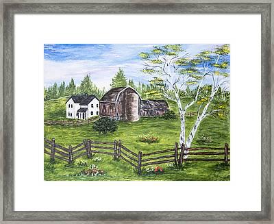 Farmhouse And Barns Framed Print by Carole F Perrine