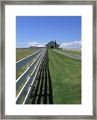 Farmhouse And Fence Framed Print by Frank Romeo