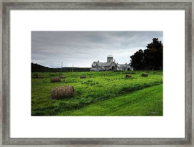 Farmhouse Bails Of Hay Framed Print by Michael Spano
