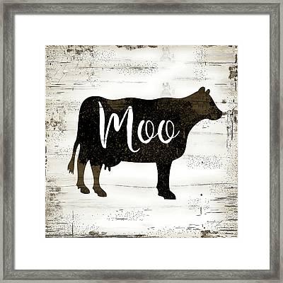 Farmhouse Cow Framed Print by Jennifer Pugh
