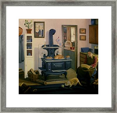 Framed Print featuring the painting Farmhouse In Autumn 1990 by Nancy Griswold