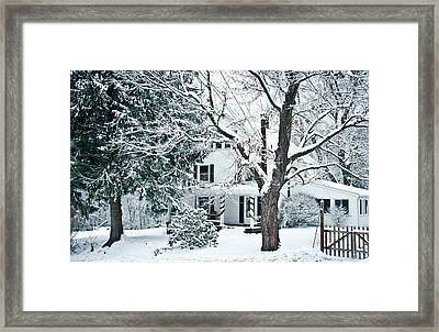 Farmhouse In Snow Framed Print by Nickaleen Neff