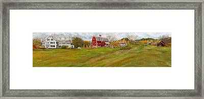 Red Barn Art- Farmhouse Inn At Robinson Farm Framed Print by Lourry Legarde
