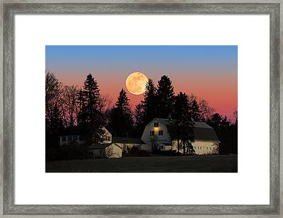 Framed Print featuring the photograph Farmhouse Moonrise by Larry Landolfi