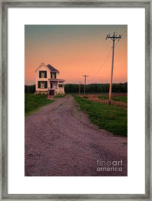 Farmhouse On Gravel Road Framed Print by Jill Battaglia