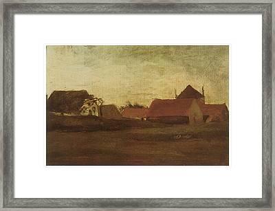 Farmhouses In Loosduinen Near The Hague At Twilight Framed Print by Vincent van Gogh