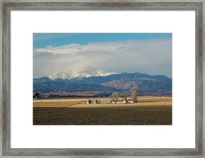 Farmland Below The Rocky Mountains Framed Print