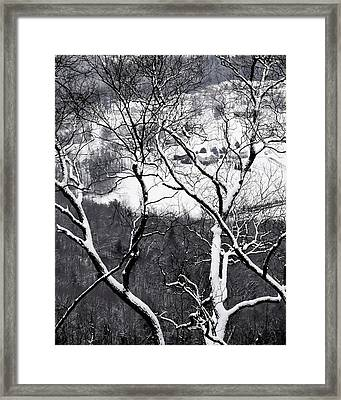Farmland In The Valley Below, Seen Framed Print