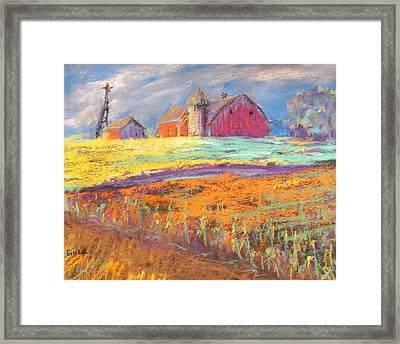 Farmland Sunset Framed Print by Terri Einer