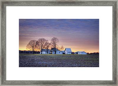 Farmstead At Sunset Framed Print by Cricket Hackmann