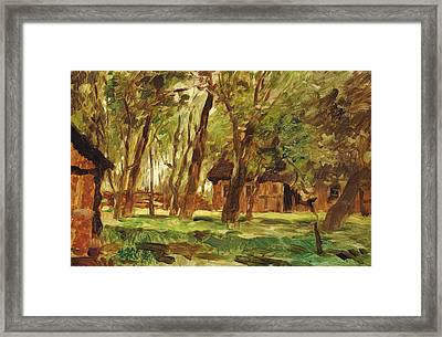 Farmstead Under Trees Framed Print by Thomas Ludwig Herbst
