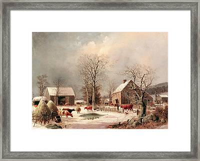 Farmyard In Winter Framed Print by George Henry Durrie