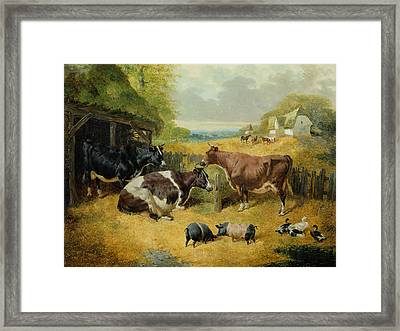 Farmyard Scene Framed Print by John Frederick Herring Snr