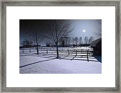Framed Print featuring the photograph Farmyard Winter Moonrise by Larry Landolfi
