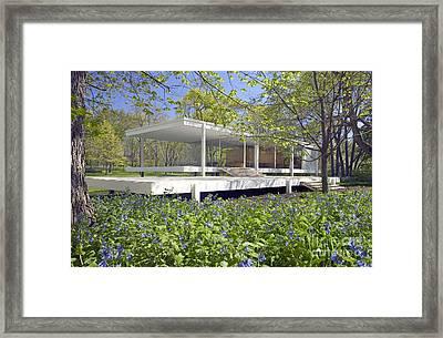 Farnsworth House Illinois Framed Print by Martin Konopacki