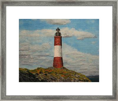 Framed Print featuring the painting Faro Del Fin Del Mundo by Stan Tenney