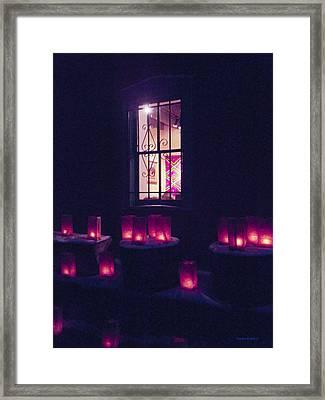 Farolitos Or Luminaria Below Window 2 Framed Print by Tamara Kulish