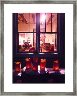 Farolitos Or Luminaria Below Window 4 Framed Print by Tamara Kulish