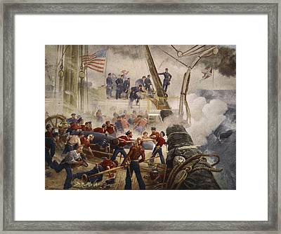 Farragut On The Hartford At Mobile Bay Framed Print