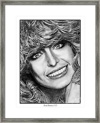 Framed Print featuring the drawing Farrah Fawcett In 1976 by J McCombie