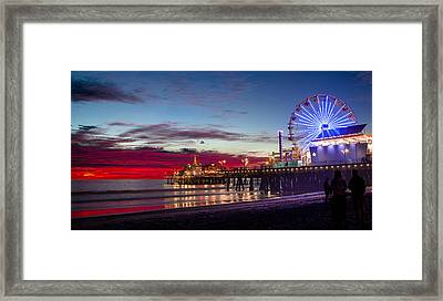 Ferris Wheel On The Santa Monica California Pier At Sunset Fine Art Photography Print Framed Print