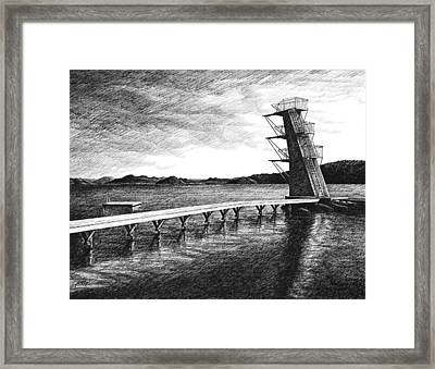 Framed Print featuring the drawing Farsund Badehuset In Ink by Janet King