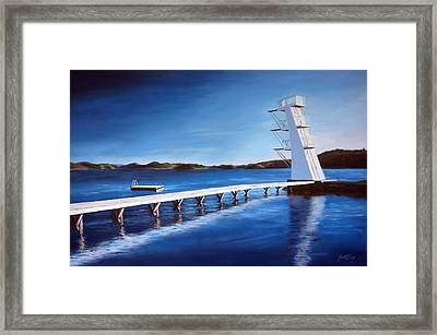 Framed Print featuring the painting Farsund Badehuset On A Sunny Day by Janet King