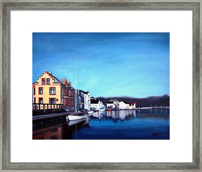 Framed Print featuring the painting Farsund Dock Scene I by Janet King