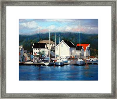 Framed Print featuring the painting Farsund Dock Scene Painting by Janet King