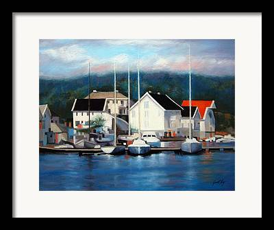 Town Of Farsund Norway Framed Prints