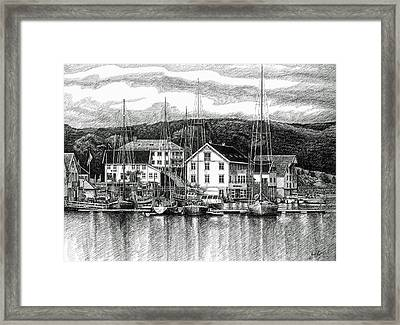 Framed Print featuring the drawing Farsund Dock Scene Pen And Ink by Janet King