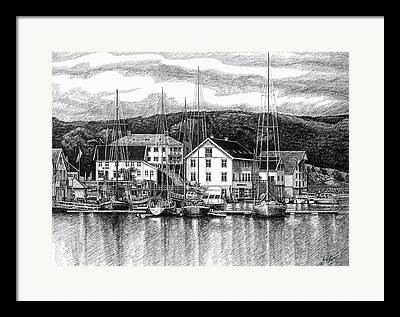 Farsund Buildings Framed Prints