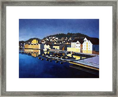 Framed Print featuring the painting Farsund In Winter by Janet King