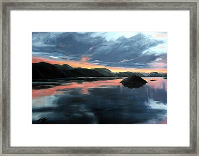 Framed Print featuring the painting Farsund Sunrise by Janet King