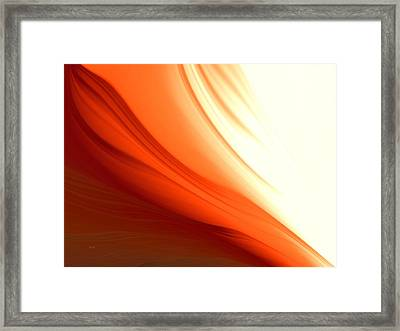 Framed Print featuring the digital art Glowing Orange Abstract by Gabriella Weninger - David