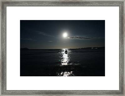 Fascinated By The Moon Framed Print by Chikako Hashimoto Lichnowsky